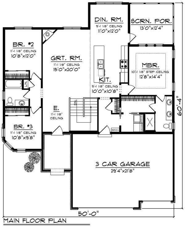 Ranch Floor Plan - Main Floor Plan Plan #70-1240