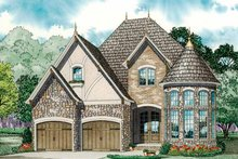 European Exterior - Front Elevation Plan #17-3284