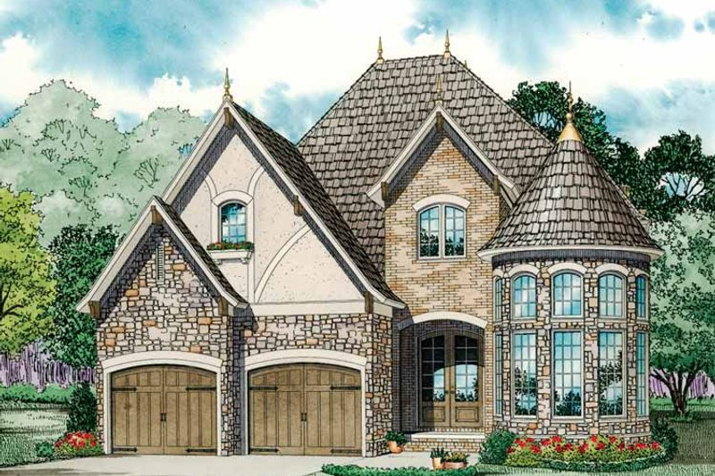 European Exterior - Front Elevation Plan #17-3284 - Houseplans.com