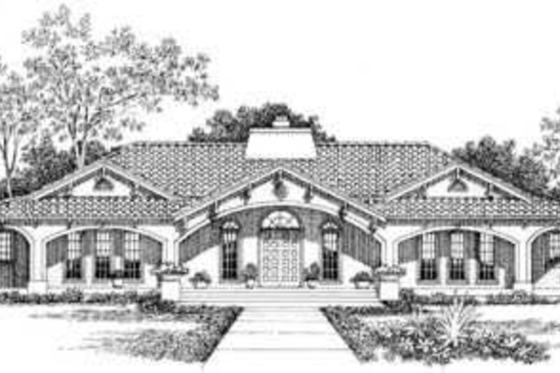 Mediterranean Exterior - Front Elevation Plan #72-177 - Houseplans.com