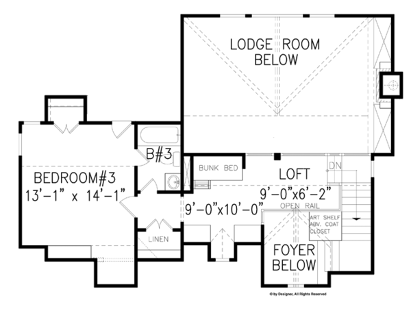 Craftsman Floor Plan - Upper Floor Plan Plan #54-370
