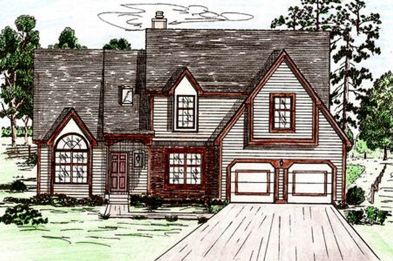 Traditional Style House Plan - 4 Beds 2.5 Baths 2474 Sq/Ft Plan #405-123 Exterior - Front Elevation