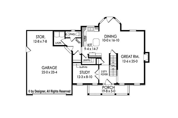 Colonial Floor Plan - Main Floor Plan Plan #1010-211