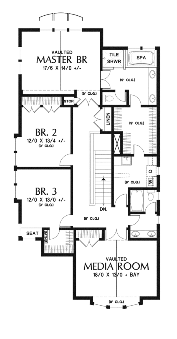 Traditional Floor Plan - Upper Floor Plan Plan #48-902