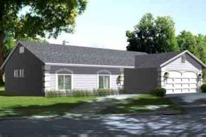 Ranch Exterior - Front Elevation Plan #1-1241