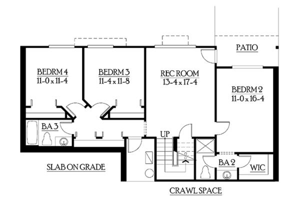 Craftsman Floor Plan - Lower Floor Plan Plan #132-340