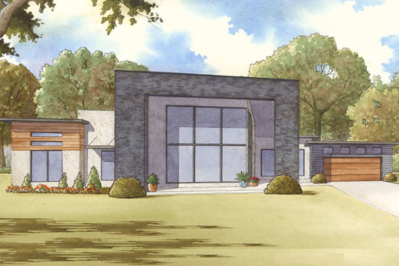 Contemporary Exterior - Front Elevation Plan #17-3385