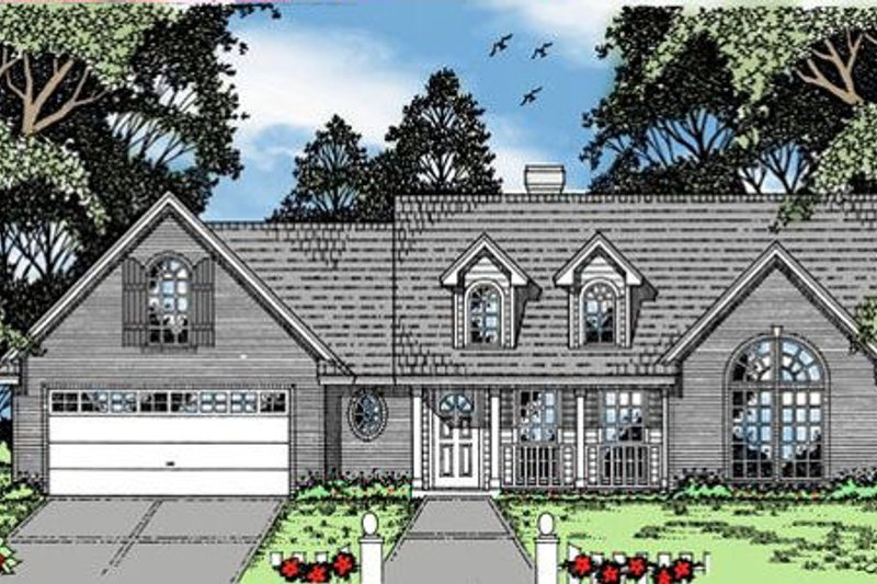 Country Style House Plan - 3 Beds 2 Baths 1636 Sq/Ft Plan #42-167 Exterior - Front Elevation