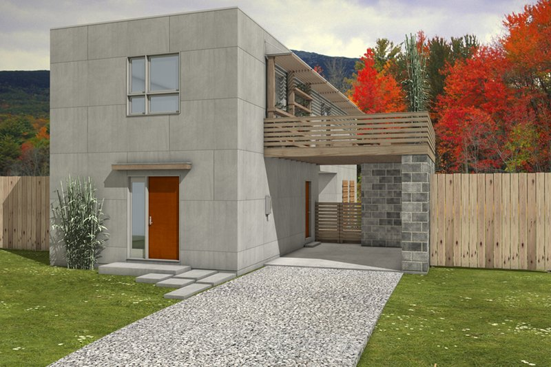 House Blueprint - Modern, Front elevation