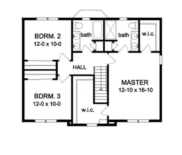 Colonial Floor Plan - Upper Floor Plan Plan #1010-73