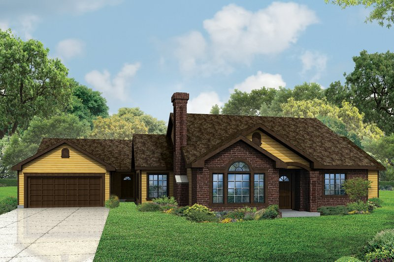Ranch Exterior - Front Elevation Plan #124-973