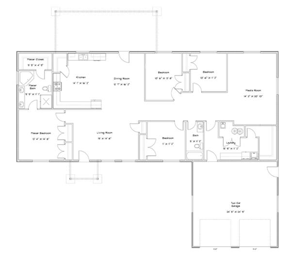 Ranch Floor Plan - Main Floor Plan Plan #1060-31