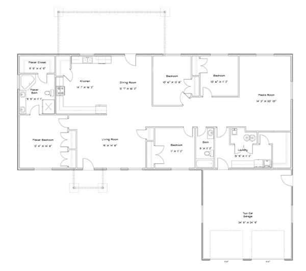 Home Plan - Ranch Floor Plan - Main Floor Plan #1060-31