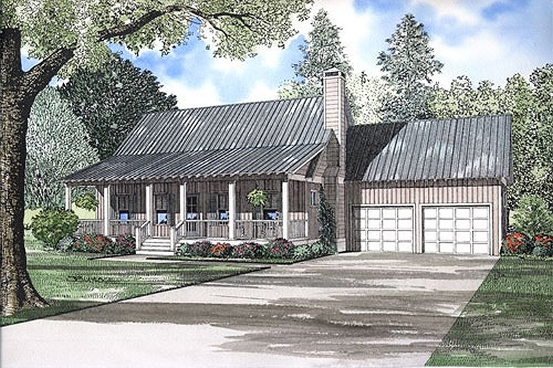 Country Style House Plan - 2 Beds 2 Baths 1903 Sq/Ft Plan #17-566 Exterior - Front Elevation
