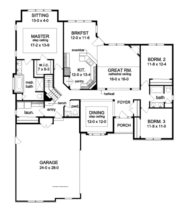 Ranch Floor Plan - Main Floor Plan Plan #1010-81