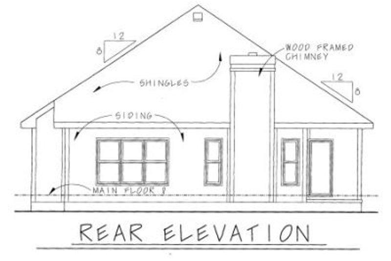 Cottage Exterior - Rear Elevation Plan #20-1207 - Houseplans.com