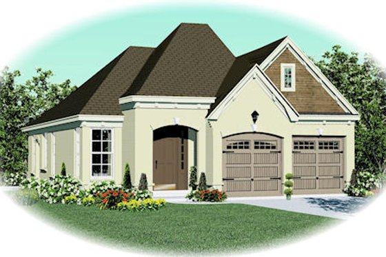 European Exterior - Front Elevation Plan #81-13822
