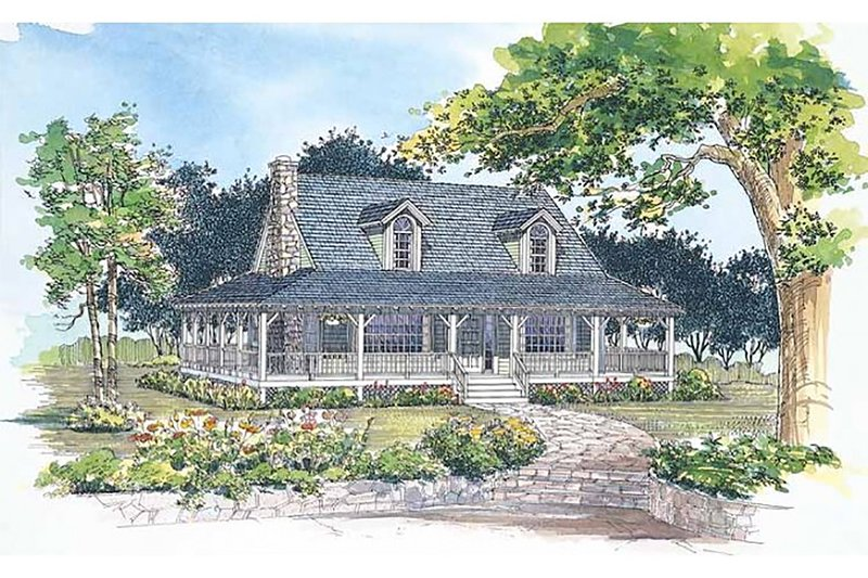 Farmhouse Exterior - Front Elevation Plan #72-110 - Houseplans.com