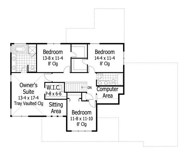 Craftsman Floor Plan - Upper Floor Plan Plan #51-474