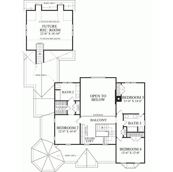 Southern Floor Plan - Upper Floor Plan Plan #137-118