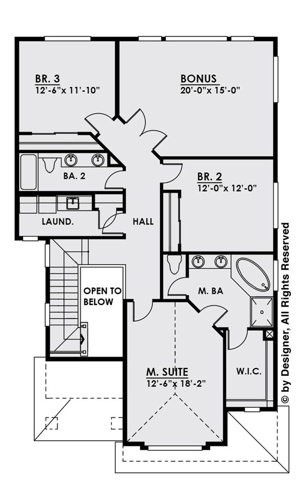 Contemporary Floor Plan - Upper Floor Plan Plan #1066-5