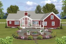 Architectural House Design - Ranch Exterior - Rear Elevation Plan #56-696