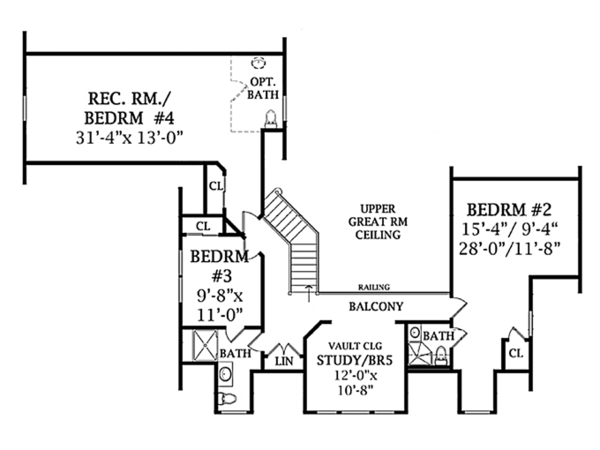 Country Floor Plan - Upper Floor Plan Plan #314-281