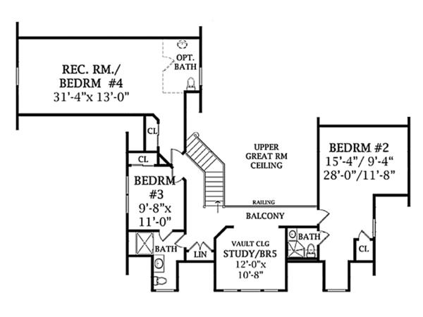 Country Floor Plan - Upper Floor Plan Plan #314-281