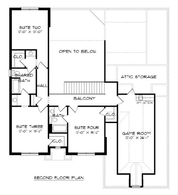European Floor Plan - Upper Floor Plan Plan #413-885