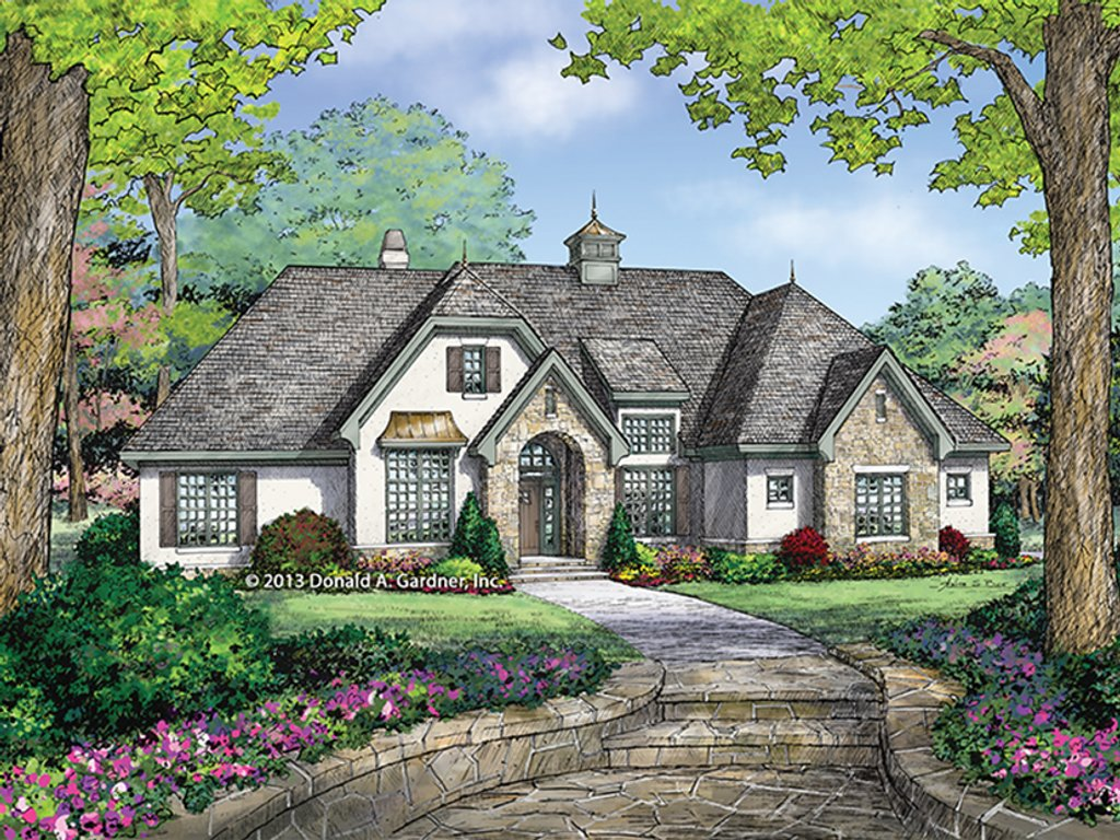 Country style house plan 3 beds 2 5 baths 1856 sq ft for French country ranch home plans