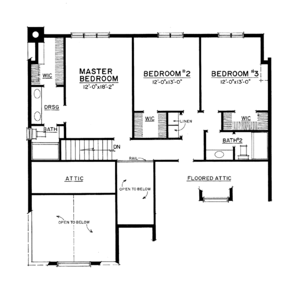 Craftsman Floor Plan - Upper Floor Plan Plan #1016-107