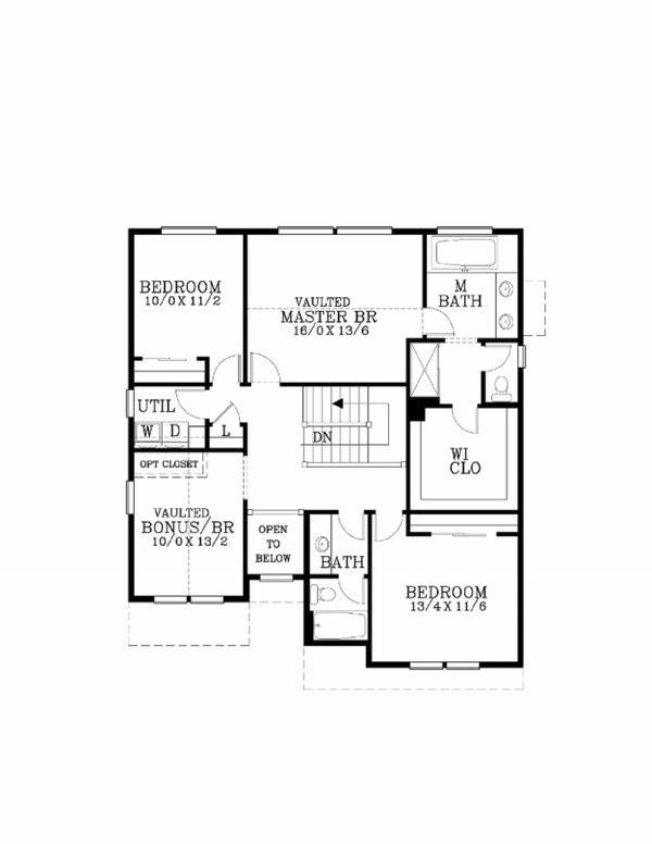 Craftsman Floor Plan - Upper Floor Plan Plan #53-453