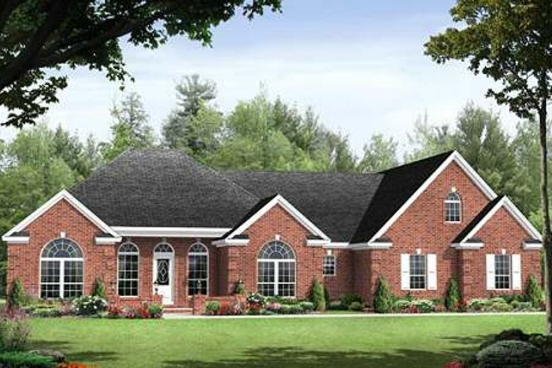 Southern Style House Plan - 3 Beds 2.5 Baths 1992 Sq/Ft Plan #21-234 Exterior - Front Elevation