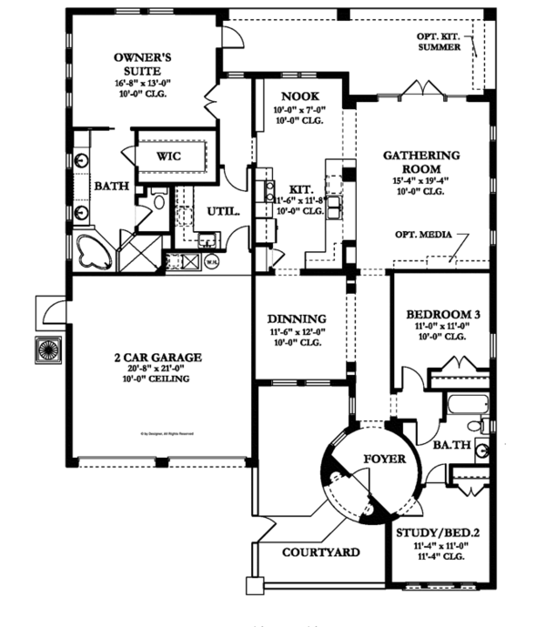 Mediterranean Floor Plan - Main Floor Plan Plan #1058-8