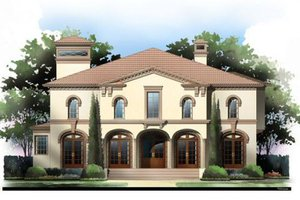 European Exterior - Front Elevation Plan #119-341