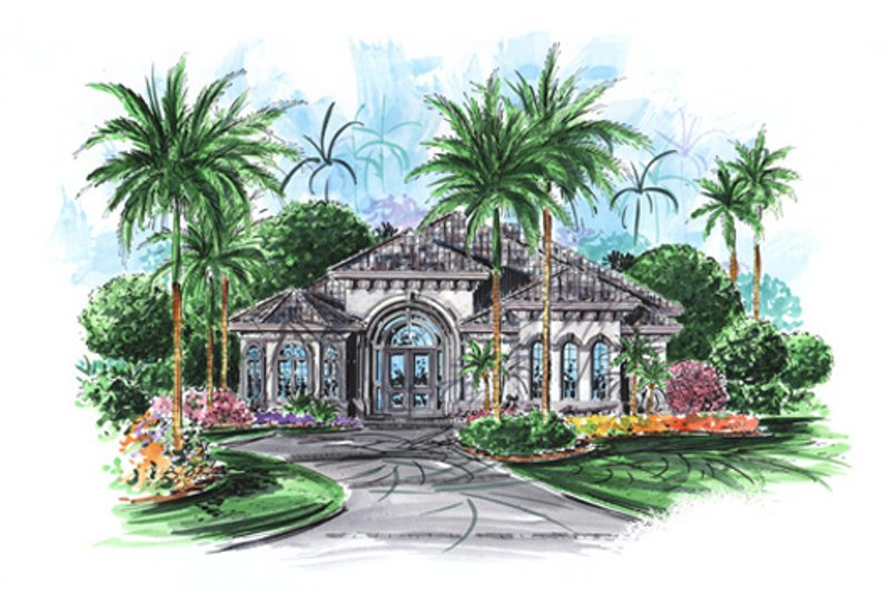 European Style House Plan - 3 Beds 2.5 Baths 2570 Sq/Ft Plan #27-417 Exterior - Front Elevation