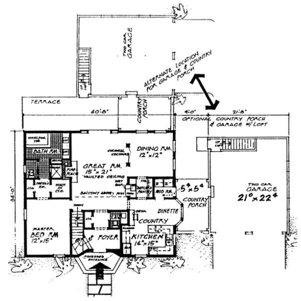 Colonial Floor Plan - Main Floor Plan Plan #315-109