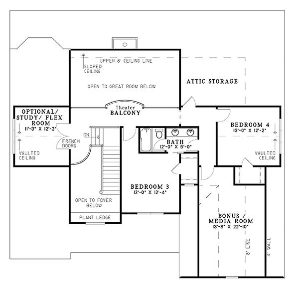 Craftsman Floor Plan - Upper Floor Plan Plan #17-1167