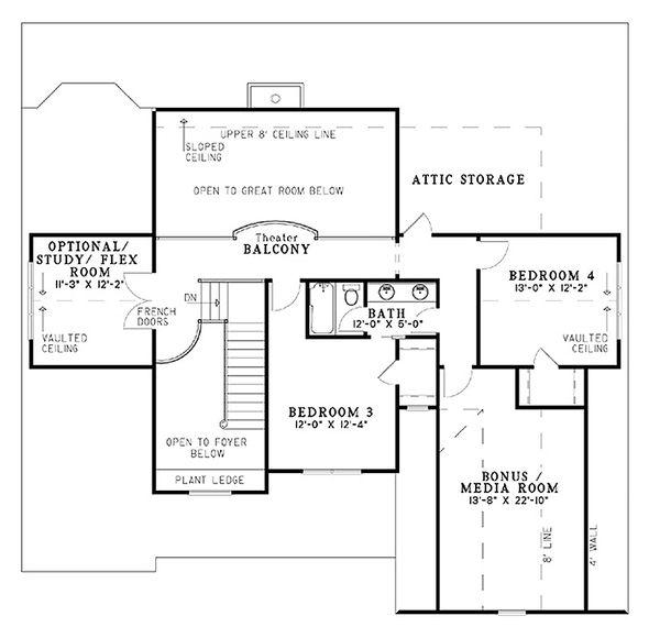 Home Plan - Craftsman Floor Plan - Upper Floor Plan #17-1167