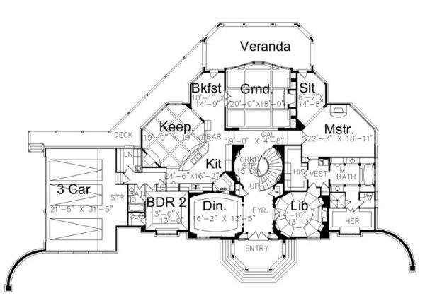 Colonial Floor Plan - Main Floor Plan Plan #119-311