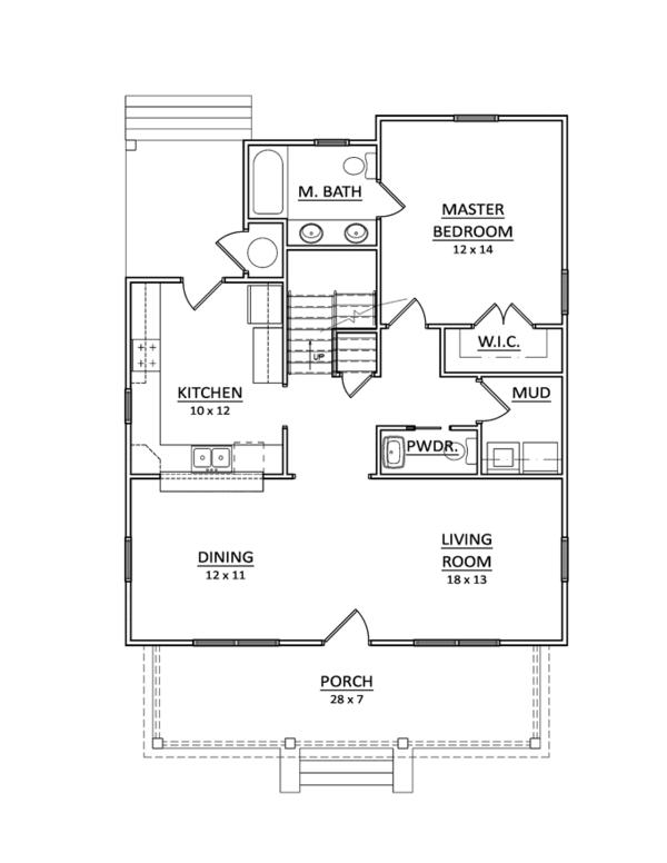 Craftsman Floor Plan - Main Floor Plan Plan #936-10