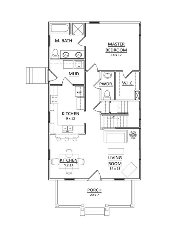 Craftsman Floor Plan - Main Floor Plan Plan #936-5