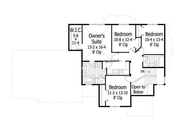 Traditional Floor Plan - Upper Floor Plan Plan #51-496