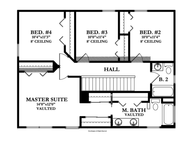 Traditional Floor Plan - Upper Floor Plan Plan #1058-21
