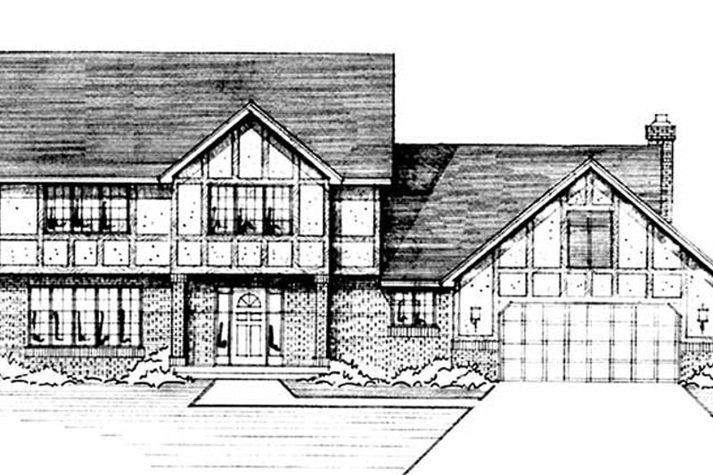Dream House Plan - Tudor Exterior - Front Elevation Plan #51-872