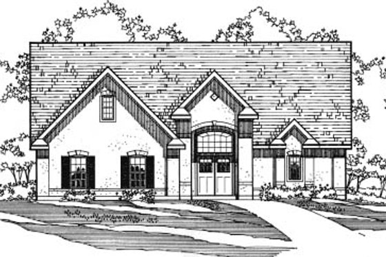 European Exterior - Front Elevation Plan #31-117
