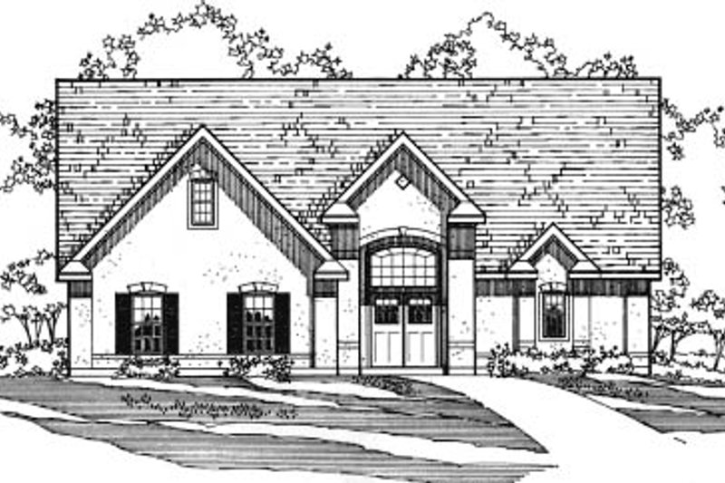 European Style House Plan - 3 Beds 3.5 Baths 2532 Sq/Ft Plan #31-117 Exterior - Front Elevation