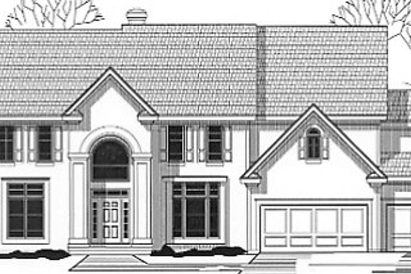 European Style House Plan - 4 Beds 4.5 Baths 4196 Sq/Ft Plan #67-619 Exterior - Front Elevation