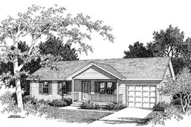 Ranch Exterior - Front Elevation Plan #57-107 - Houseplans.com