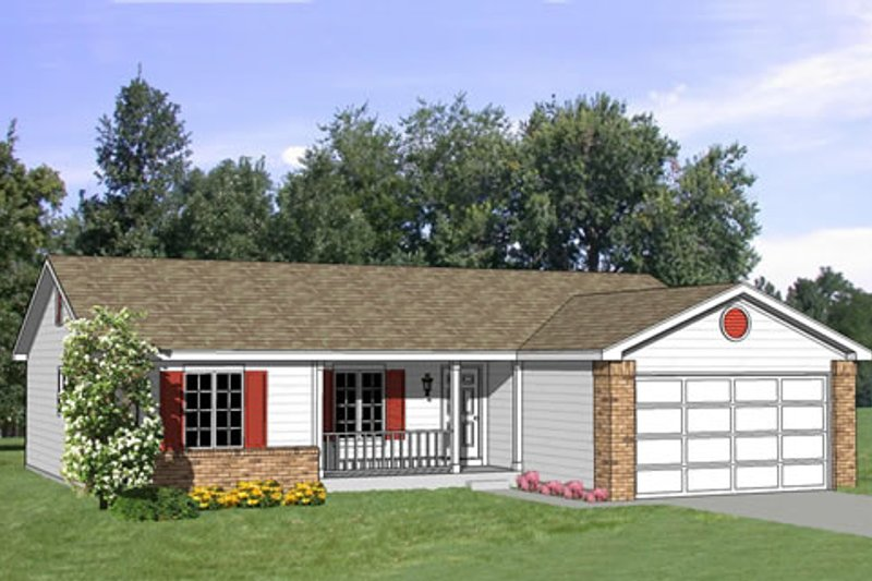 Ranch Style House Plan - 4 Beds 2 Baths 1294 Sq/Ft Plan #116-172 Exterior - Front Elevation